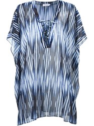 Brigitte V Neck Tie Dye Beach Dress Blue