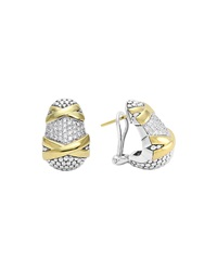 Sterling Silver And 18K Gold Diamond Caviar Earrings Lagos