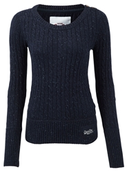 Superdry Croyde Cable Crew Neck Jumper Navy
