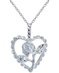 Giani Bernini Rose And Heart Pendant Necklace In Sterling Silver Only At Macy's