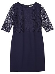 Precis Petite By Jeff Banks Floating Lace Dress Navy
