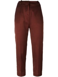 Ilaria Nistri Pleated Cropped Trousers Brown