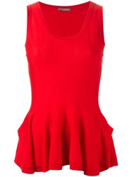 Alexander Mcqueen Peplum Knit Tank Top Red