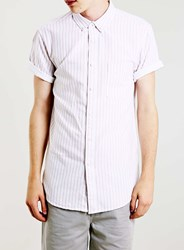 Topman Pink Striped Oxford Short Sleeve Casual Shirt White