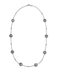 18K Black Gold Tahitian Pearl And Diamond Necklace Yoko London