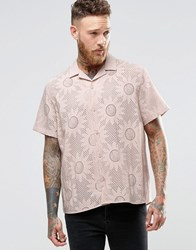 Asos Pink Shirt In Burntout Flower Print With Revere Collar And Short Sleeves Pink