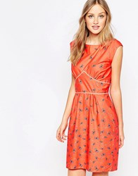 Trollied Dolly To The Point Shift Dress In Dragonfly And Ladybird Print Coral Dragonfly And Orange