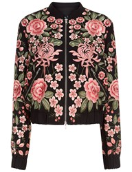 Needle And Thread Black Rose Embroidered Bomber Jacket