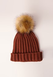 Missguided Contrast Faux Fur Pom Pom Beanie Hat Orange Rust