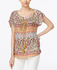 Ny Collection Printed Beaded Peasant Top Warm Tribal Print