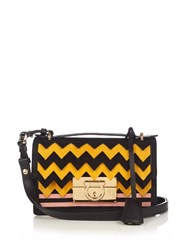 Salvatore Ferragamo Aileen Small Leather And Suede Cross Body Bag Black Yellow