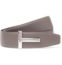 Tom Ford 4Cm Grey And Black Reversible Grained Leather Belt Gray