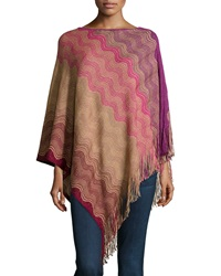 Missoni Striped Knit Fringe Trim Poncho Purple Red