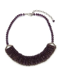 East Faceted Bib Necklace Purple