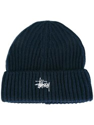 Stussy Embroidered Logo Beanie Blue