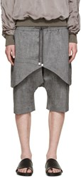 D.Gnak By Kang.D Grey Layered Traditional Line Shorts