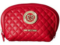 Love Moschino Quilted Makeup Bag Red Handbags