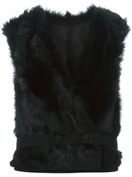 Joseph Lamb Fur Gilet Black