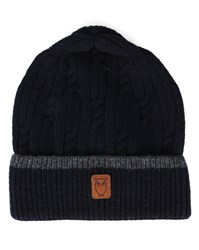 Knowledge Cotton Apparel Blue Cableknit Hat With Grey Trim