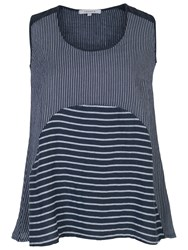Chesca Mixed Stripe Linen Cami Navy