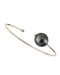 Mizuki 14K Gold Cuff With Black Tahitian Pearl And Single Diamond Caps