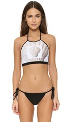 Karla Spetic Banded Halter Top Shell 2 White Black
