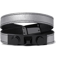 Saint Laurent Aint Rhodium Plated And Metallic Full Grain Leather Bracelet Ilver Silver