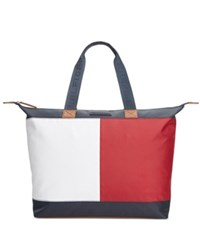 Tommy Hilfiger Colorblock Flag Top Zip Nylon Tote Tommy Navy