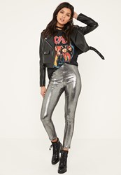 Missguided Grey Glitter Effect Faux Suede Legging Silver
