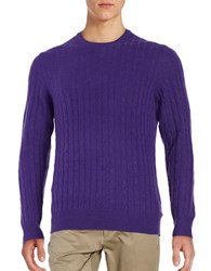 Black Brown Cashmere Cable Knit Sweater Grape