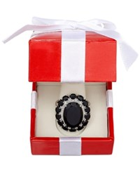 Macy's Onyx 20 4 5 Ct. T.W. And Diamond Accent Ring In Sterling Silver