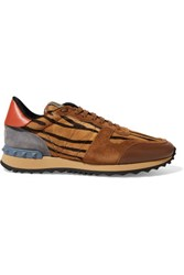 Valentino Calf Hair Leather And Suede Sneakers Multi