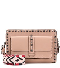 Valentino Rolling Rockstud Leather Crossbody Bag Beige