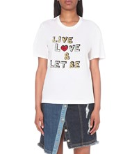 Markus Lupfer Live Love And Let Be Cotton Jersey T Shirt White
