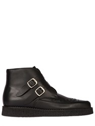 Underground Bowie Buckled Matte Leather Ankle Boots