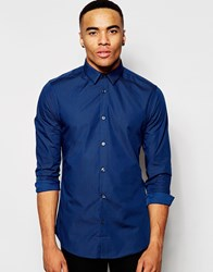 New Look Shirt With Long Sleeves And Split Collar Detail In Blue Brightblue