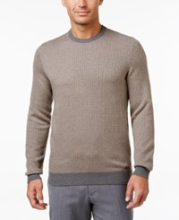 Tasso Elba Men's Jacquard Sweater Only At Macy's Taupe Grey Combo