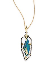 Armenta Old World Boulder Opal Diamond Blue Sapphire Oxidized Sterling Silver And 18K Yellow Gold Open Pendant Gold Blue