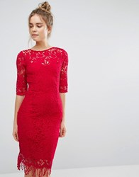 Paper Dolls 3 4 Length Sleeve Lace Dress Berry Red