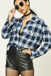 Forever 21 Plaid Flannel Graphic Shirt Blue White