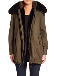 Derek Lam Two In One Fox Fur Collar Parka And Faux Fur Lined Vest Army