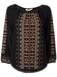 Tory Burch Embroidered Tunic Black