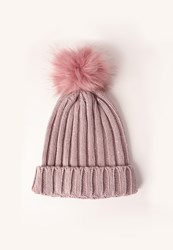 Missguided Metallic Knit Faux Fur Pom Pom Beanie Hat Pink Mauve