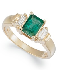 Macy's 14K Gold Ring Emerald 1 Ct. T.W. And Diamond 1 4 Ct. T.W. Emerald Cut Ring Green