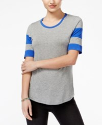 Rebellious One Juniors' Striped Sleeve Football T Shirt Heather Grey Dazzling Blue