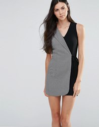 Love Two Tone Tailored Wrap Dress Black And Grey