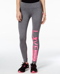 Material Girl Active Love Pink Ribbon Graphic Leggings Only At Macy's Heather Charcoal
