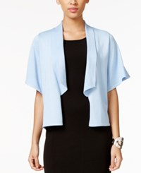 Cable And Gauge Flutter Sleeve Open Front Cardigan Chambray Blue