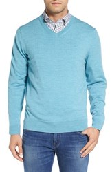 Vineyard Vines Men's 'Performance Blend' V Neck Sweater Turquoise