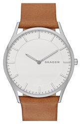 Skagen 'Holst' Leather Strap Watch 40Mm Brown Silver